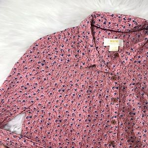 Anthropologie Maeve Pink Floral Button Down Blouse